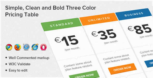 22 best css3 pricing tables elements of 2013 webdesignboom for Simple table design css