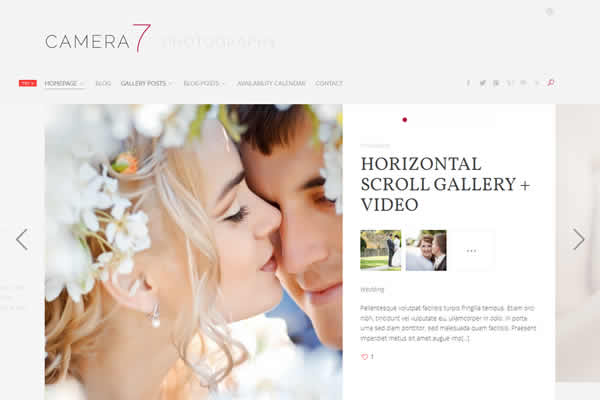 Camera 7 Minimal Photography Theme WordPress