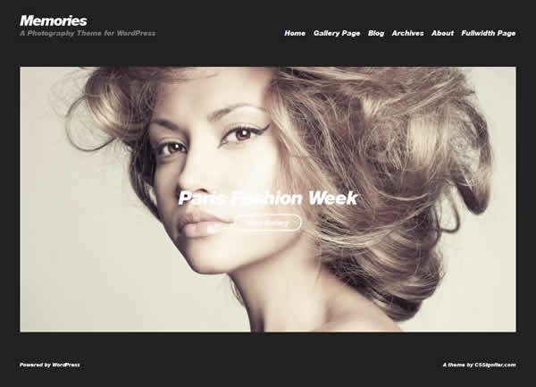 Memories Minimalistic Photography WordPress Theme