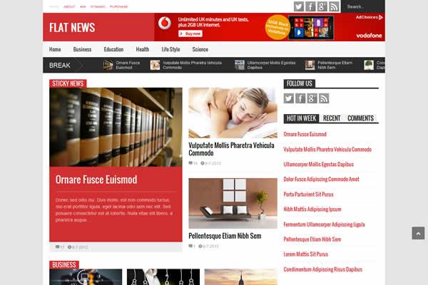Flat News premium magazine style blogspot template