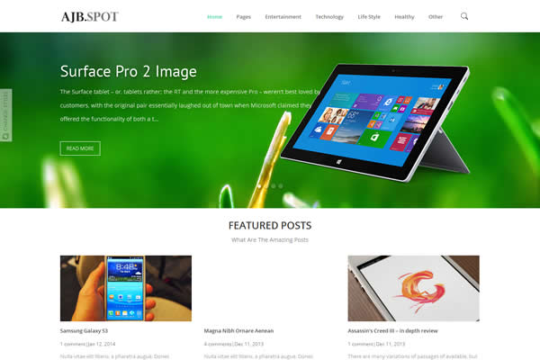Ajbspot Premium blogger template for designer portfolio sites