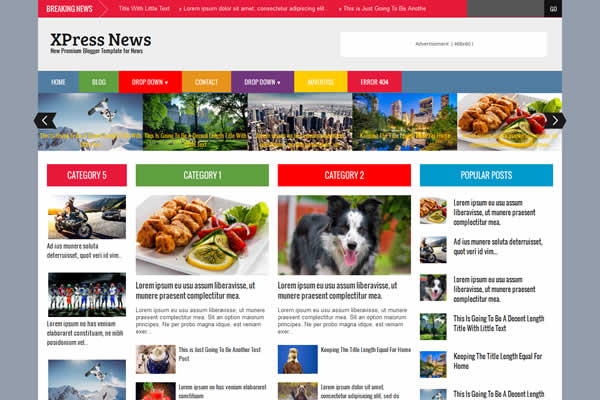 Colorful design premium blogger template XPress News