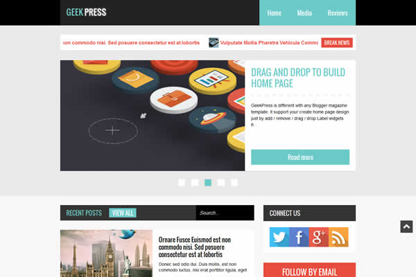 Flat design premium blogger template Geek Press