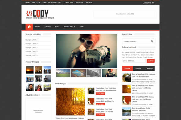 Cody premium template for blogspot blog