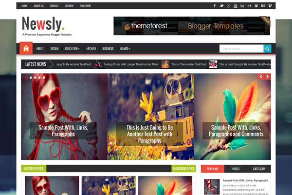 Newsly premium personal blogger template design