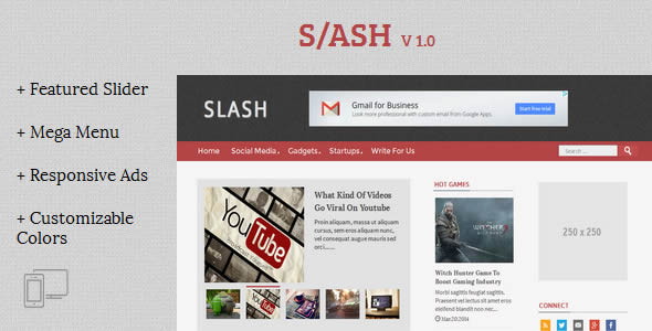 Slash Tech/Magazine Blogger Template