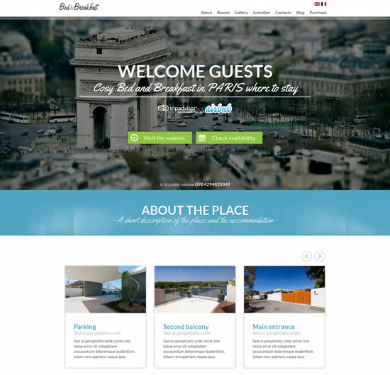 Bed and Breakfast Single Page WordPress Theme