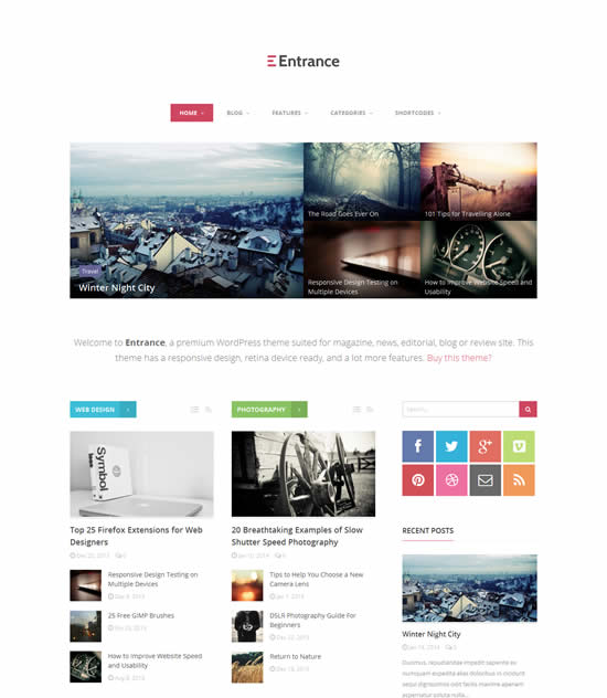 Entrance WordPress Theme for Magazine and Review
