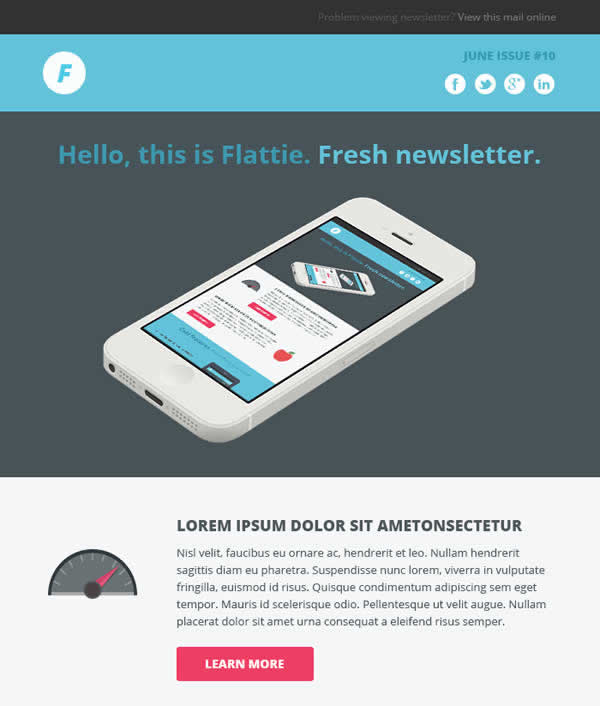 13 powerful flat design html email templates webdesignboom flattie flat responsive email template spiritdancerdesigns Images