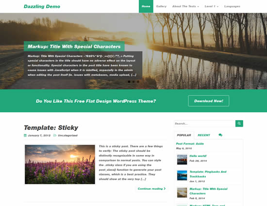 Dazzling Free Flat Design WordPress Business Theme
