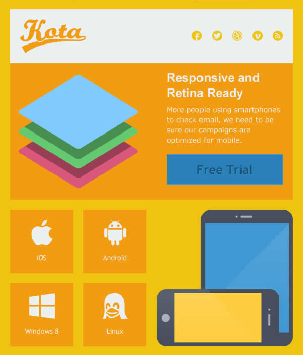 Kota Responsive and Retina Ready Email Template
