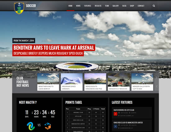 Soccer Club Sports and Events News theme