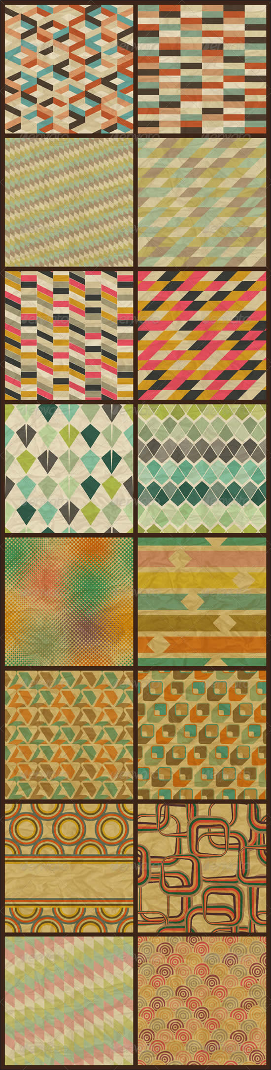16 Seamless Retro Geometric Patterns