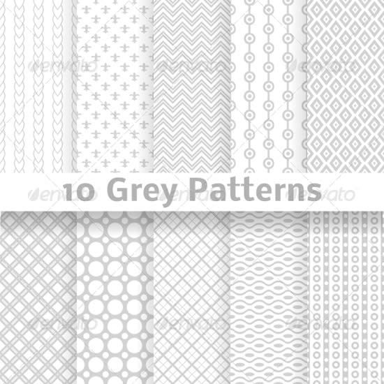 Grey Vector Seamless Patterns (tiling)