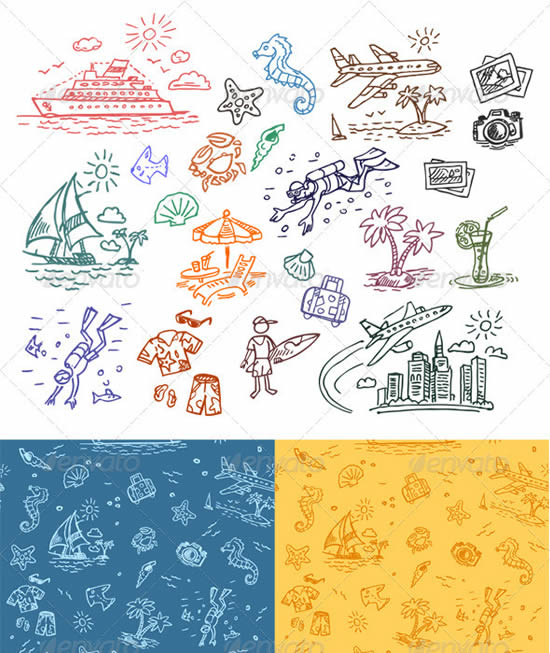 Hand drawn illustrations set and seamless pattern