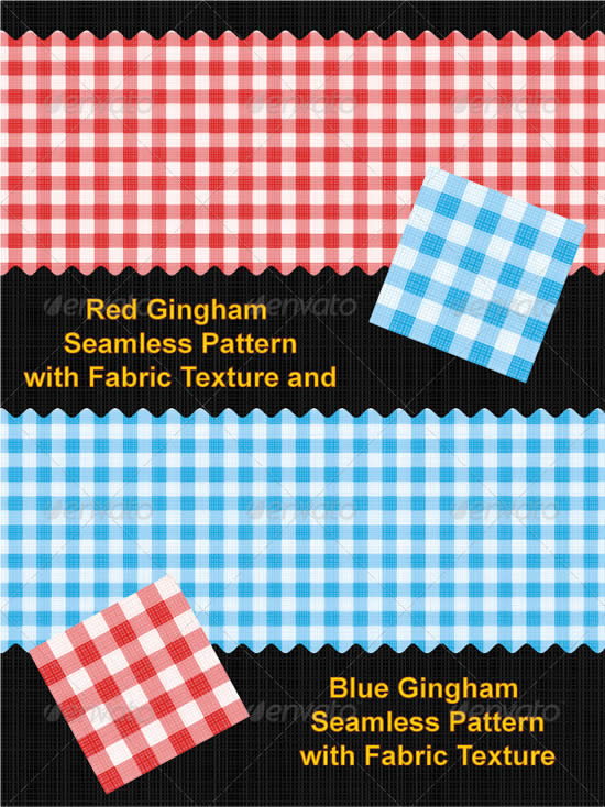 Red and Blue Gingham Seamless Patterns