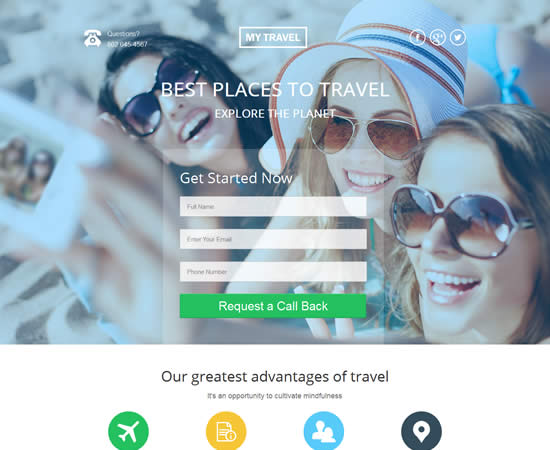 Unbounce Landing Page Template for Travel