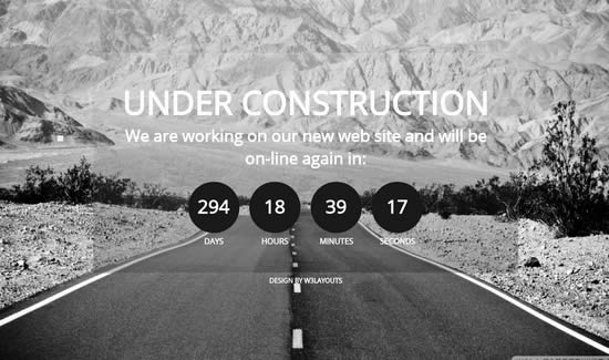 21 new coming soon under construction web pages templates webdesignboom. Black Bedroom Furniture Sets. Home Design Ideas