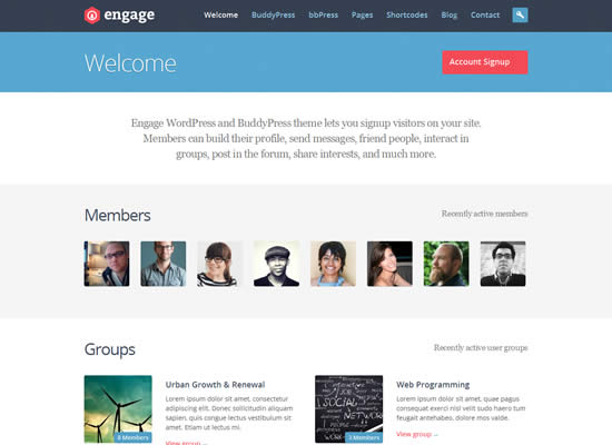 Engage WordPress BuddyPress bbPress Theme