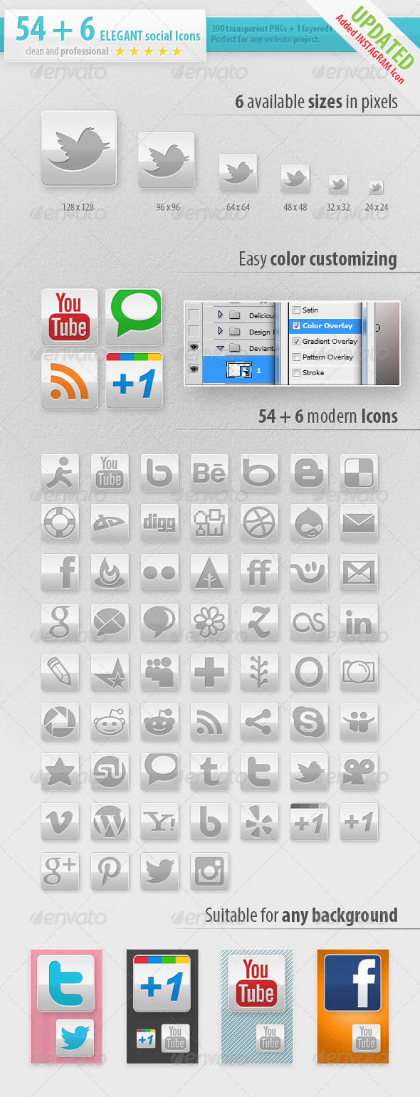 Social Media Icons Elegant Edition