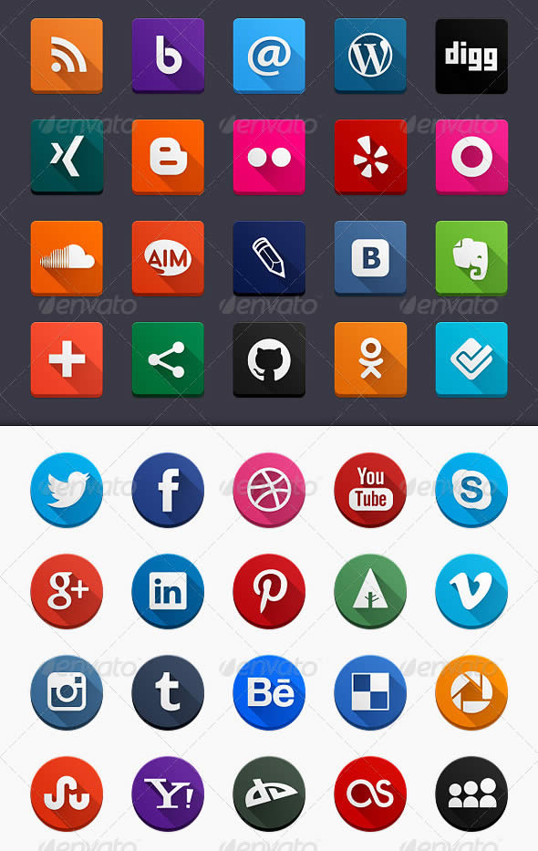 Flat Long Shadow Social Icons