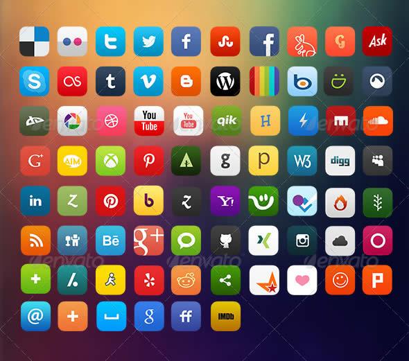 Flat7 Social Media Icons