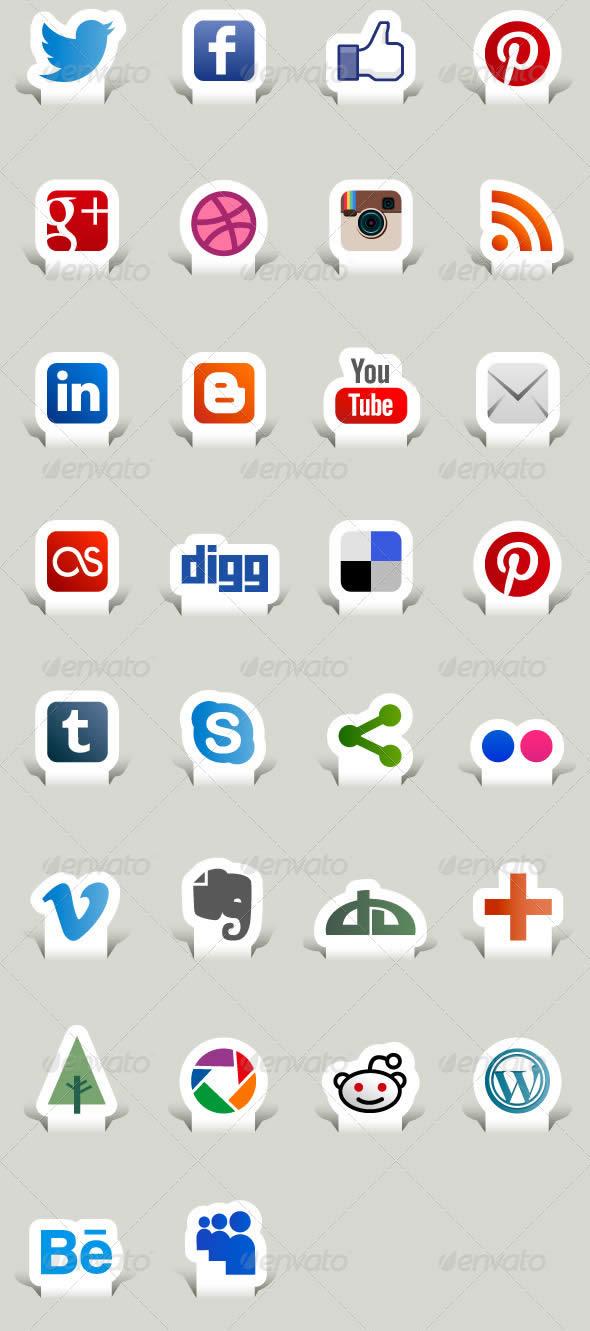 Social Media Icons - Paper Cut