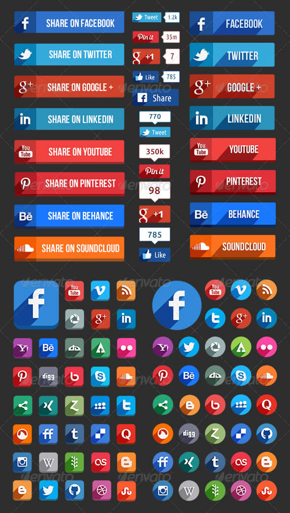 Flat Social Media Icons and Buttons
