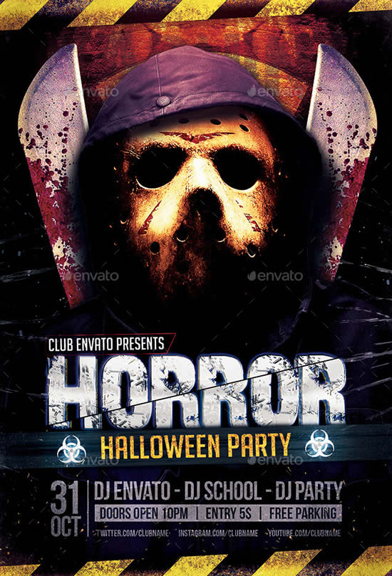 Horror Biohazard Halloween Party Flyers