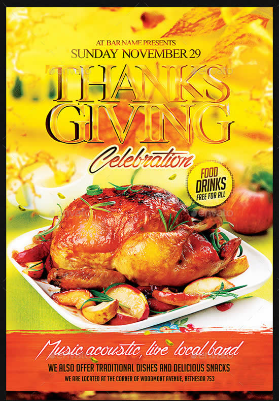 Thanksgiving Celebration Flyer Template PSD