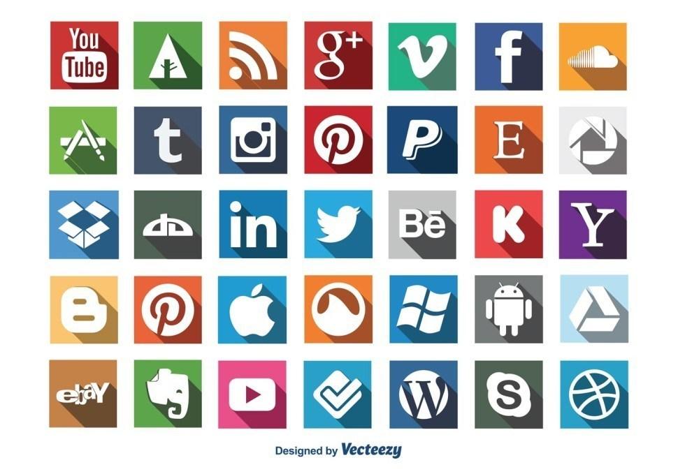 social-media-long-shadow-icon-set-vector