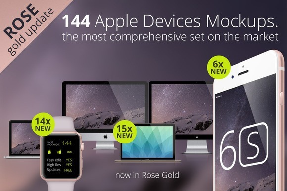144 Apple Responsive Devices Mockups
