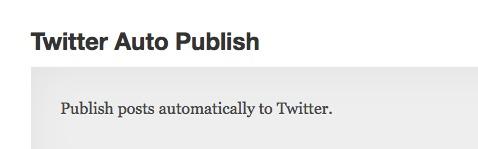 Twitter Auto Publish