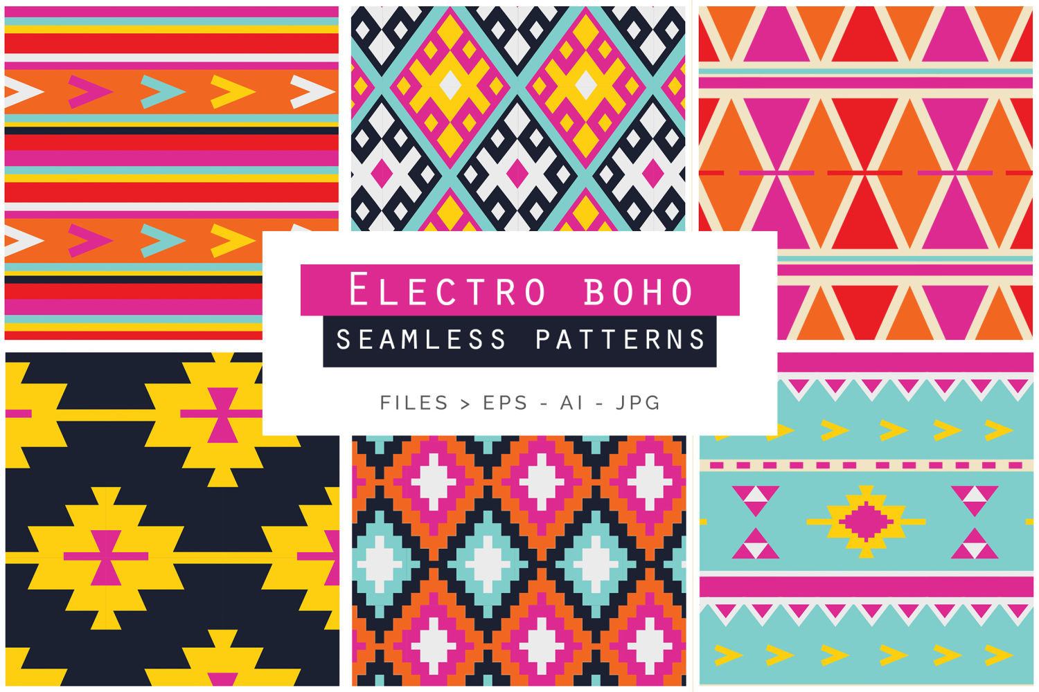 Electro Boho Seamless Vector Patterns