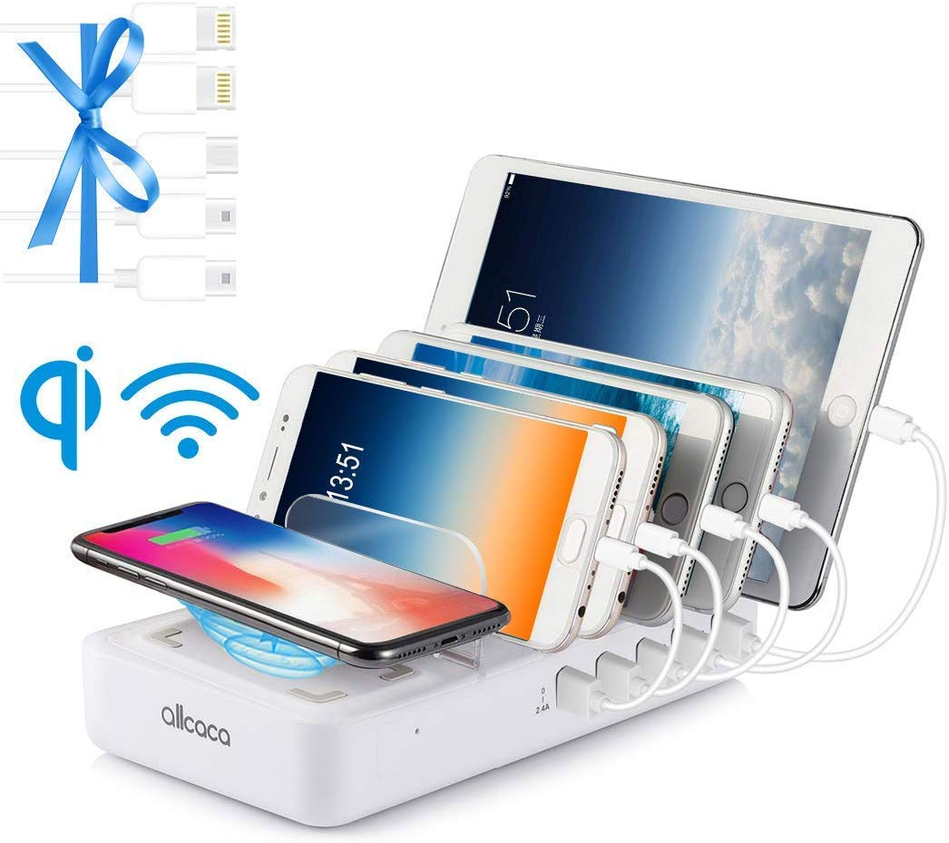 Charging Station Multi 5 Port with Wireless Charging Pad